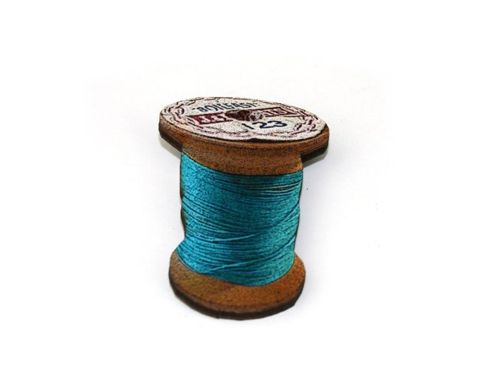 Blue Cotton Spool Brooch, Wooden Thread Spool Illustration, Wood Jewelry, Bobbin Brooch
