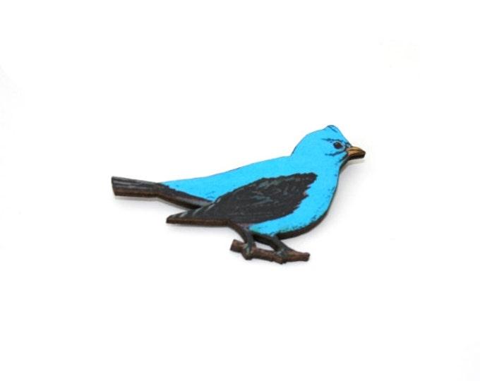 Blue Bird Brooch, Wooden Bird Brooch, Bird Illustration, Animal Brooch
