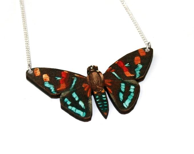 Moth Necklace, Wood Pendant, Illustration Jewelry, Butterfly Necklace, Woodland, Wood Jewelry