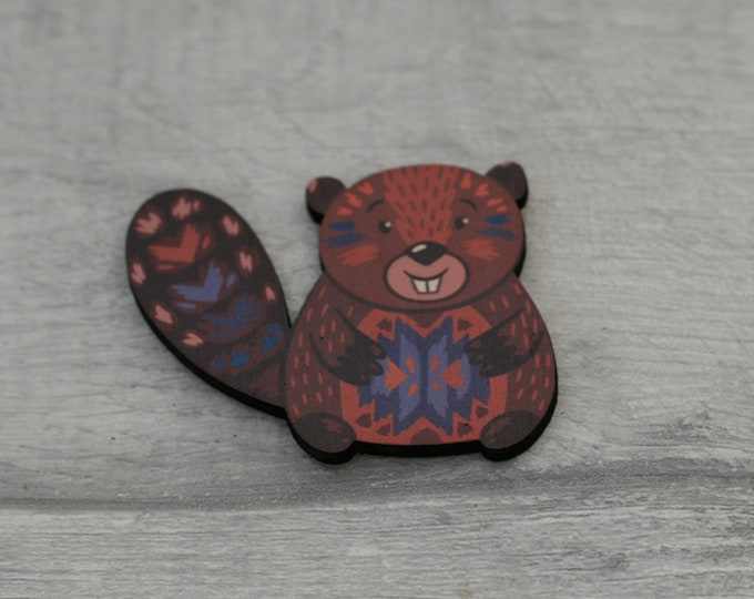 Beaver Brooch, Woodland Beaver, Wood Jewelry, Animal Brooch