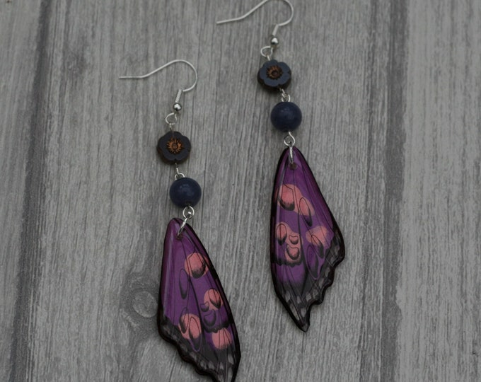 Purple Wing Earrings, Wing Illustration, Dangle Earrings, Sparkle Jewelry