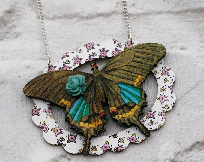 Swallowtail Butterfly Necklace, Butterfly Pendant, Illustration Jewelry, Woodland, Animal Necklace, Wood Jewelry