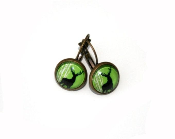 Stag's Head Earrings, Deer Illustration Dangle Earrings