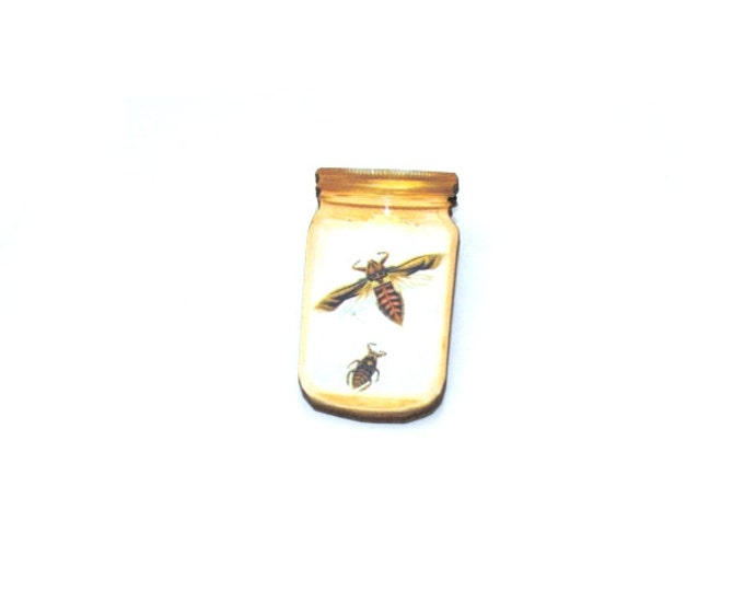 Bee Brooch, Insect in a Jar Illustration, Wood Jewelry, Insect Brooch, Animal Brooch