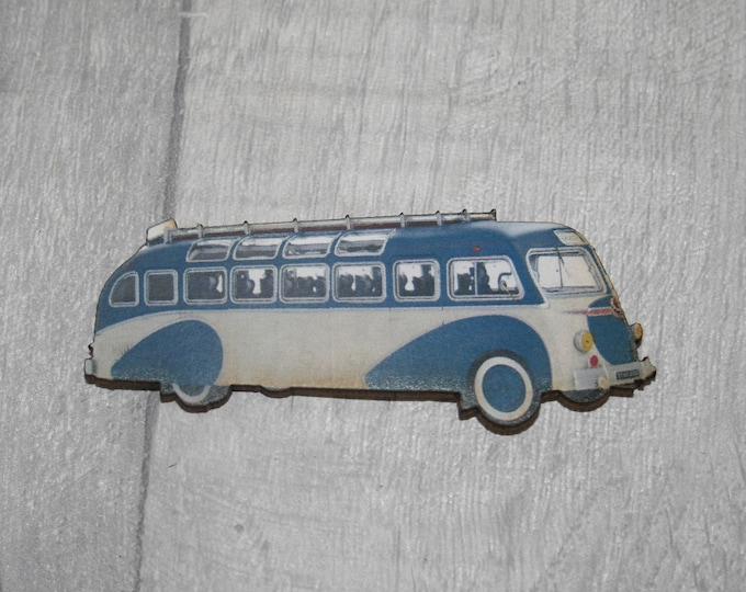 Vintage Blue Bus Brooch, Wooden Coach Brooch, Bus Badge, Wood Jewelry