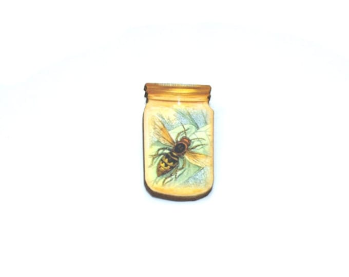 Wasp Brooch, Insect in a Jar Illustration, Wood Jewelry, Insect Brooch, Animal Brooch
