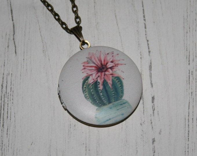 Cactus Locket Necklace, Cacti Necklace, Desert Jewelry