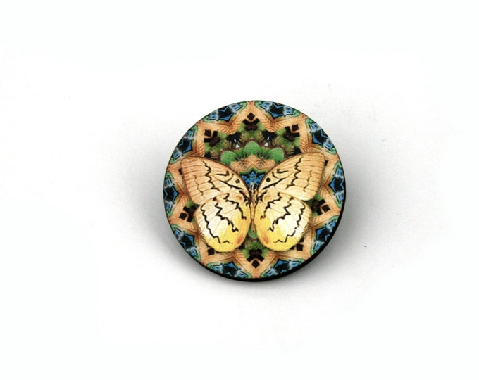 Round Butterfly Badge, Yellow Butterfly Brooch, Wood Accessory, Illustration Jewelry, Animal Brooch, Woodland, Wood Jewelry