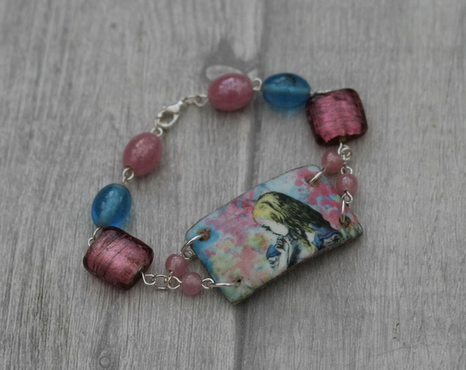 Pink and Blue Alice Bracelet, Alice in Wonderland Jewelry