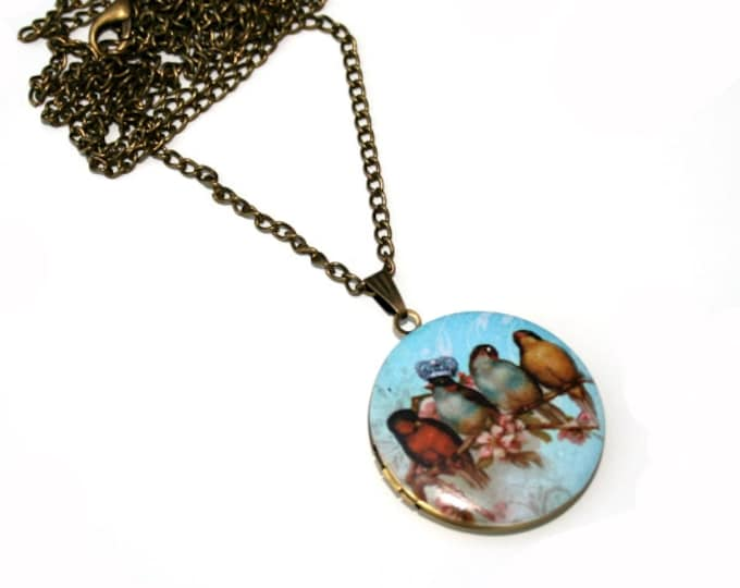 Birds Locket Necklace, Bird Necklace, Woodland