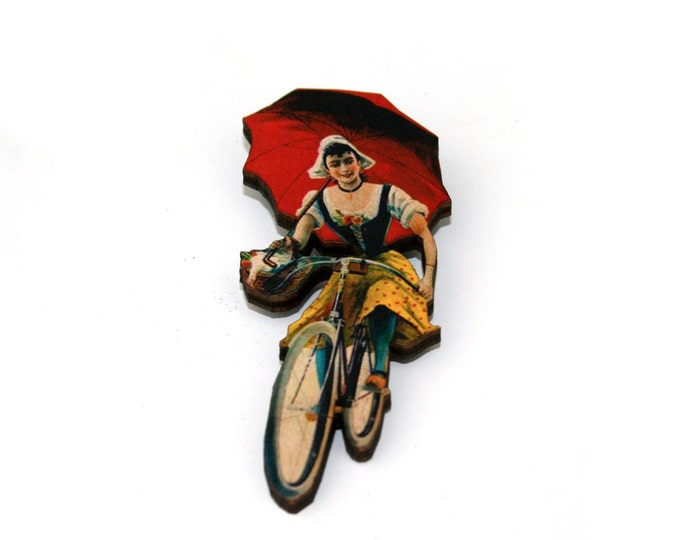 Bicycle Brooch, Wooden Bike Brooch, Vintage Bike Illustration, Wood Jewelry
