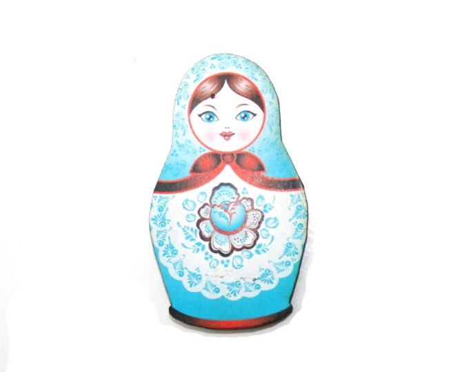 Russian Doll Brooch, Blue Illustration, Wood Jewelry, Matryoshka Brooch