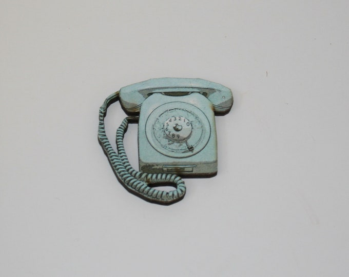 Pale Blue Retro Telephone Brooch, Wood Jewelry, Phone Badge Pin