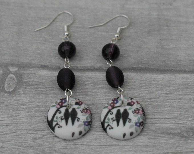 Purple Bird Statement Earrings, Animal Jewelry