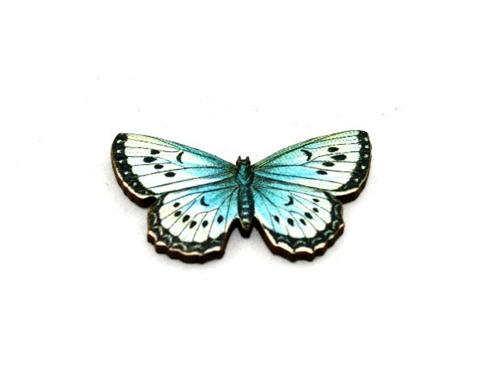 Blue Butterfly Brooch, Wooden Butterfly Accessory, Butterfly Illustration, Butterfly Badge, Animal Brooch, Woodland, Wood Jewelry
