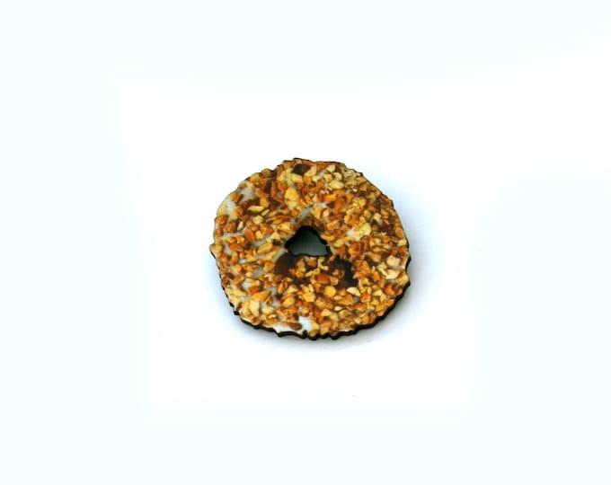Donut Brooch, Wooden Doughnut Accessory, Chopped Nut Donut Illustration, Wood Jewelry