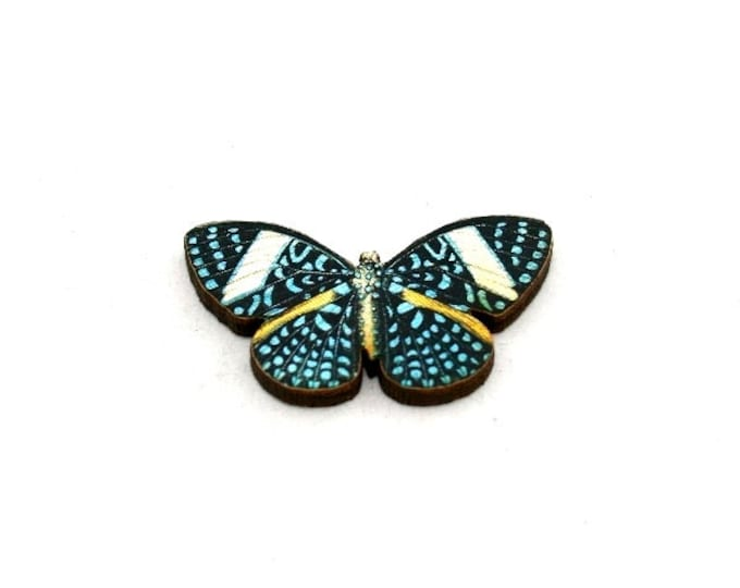 Blue Butterfly Brooch, Starry Night Cracker Butterfly, Wooden Butterfly Badge, Butterfly Illustration, Animal Brooch, Woodland, Wood Jewelry