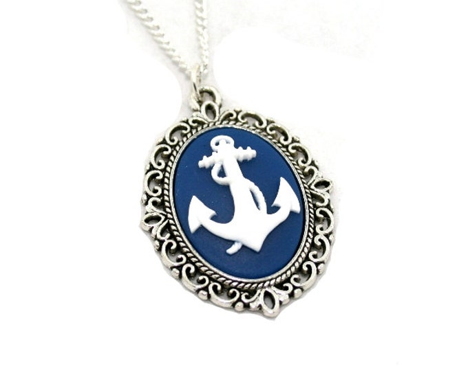Blue Anchor Necklace, White Nautical Cameo