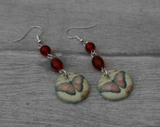 Red Butterfly Statement Earrings, Insect Jewelry
