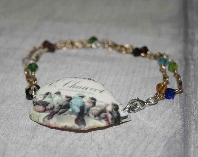 Rainbow Bird Bracelet, Bird Bracelet, Bird Bar Bracelet