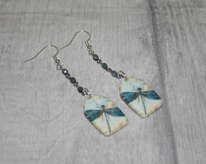 Blue Dragonfly Statement Earrings, Insect Jewelry