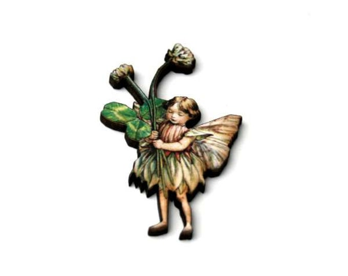 Flower Fairy Brooch, Faerie Illustration Brooch, Pixie Jewelry, Wood Brooch, Wood Jewelry