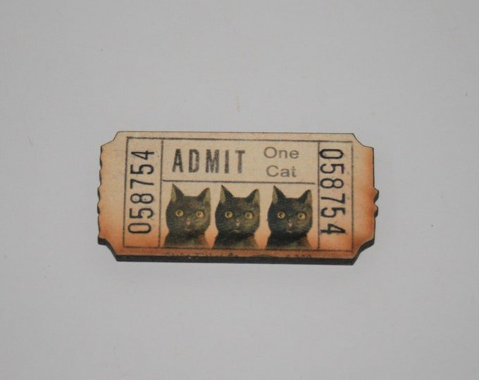 Black Cat Brooch, Ticket Brooch, Vintage Illustration, Animal Brooch