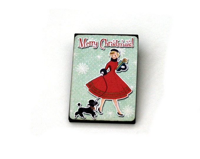 Christmas Brooch, Vintage Illustration, Wood Jewelry, Christmas Brooch, Wood Jewelry