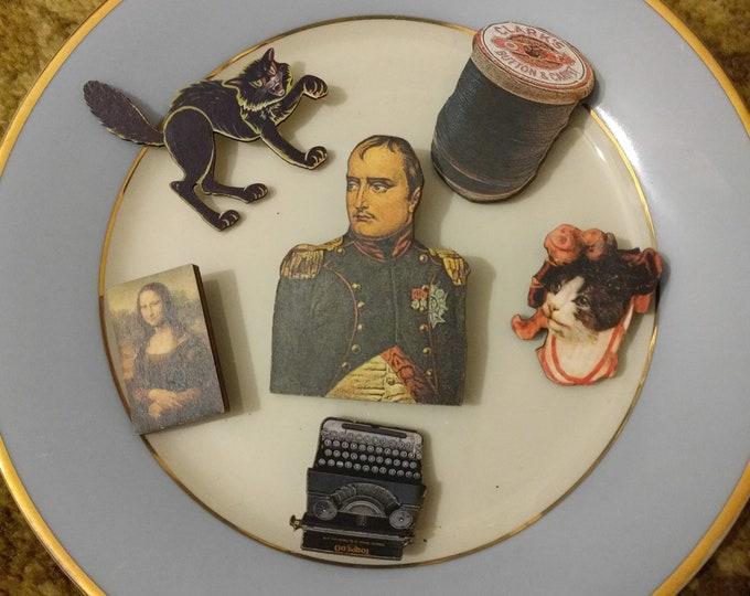 6 x Wooden Brooches - Black, Cat, Cotton Spool, Mona Lisa, Typewriter