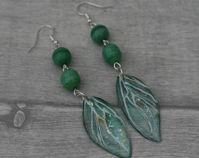 Green Dragonfly Wing Earrings, Dragonfly Illustration, Dangle Earrings