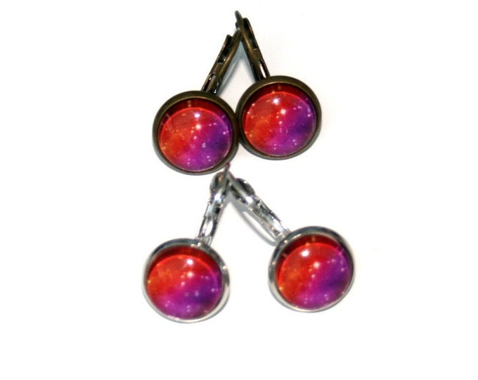 Galaxy Earrings, Nebula Illustration Dangle Earrings, Star Earrings