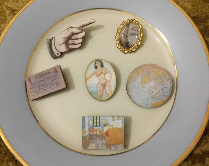 6 x Wooden Brooches - Globe, Circus, Hand, Paris