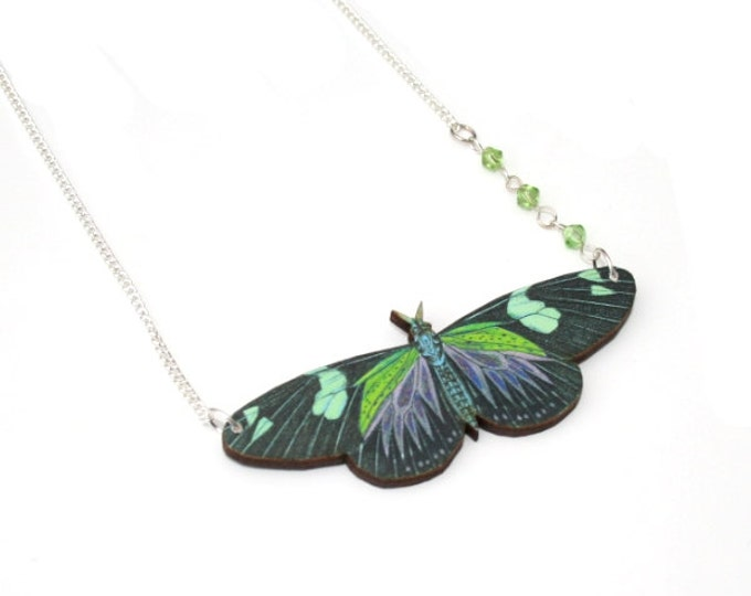 Green Butterfly Necklace, Wooden Butterfly, Illustration Pendant, Asymmetrical Necklace, Animal Necklace, Wood Jewelry