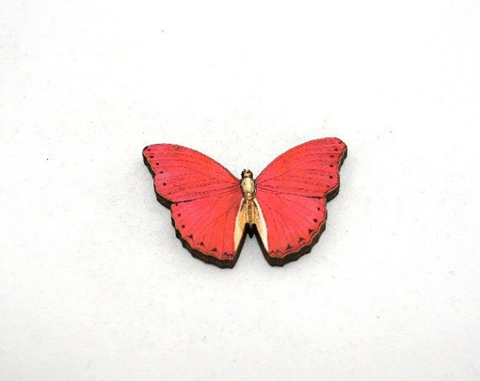 Red Butterfly Brooch, Wood Accessory, Badge, Illustration Jewelry, Animal Brooch, Woodland, Wood Jewelry