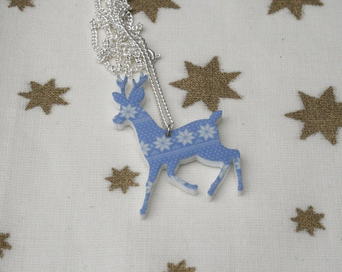 Fair Isle Reindeer Necklace, Christmas Deer Illustration Necklace
