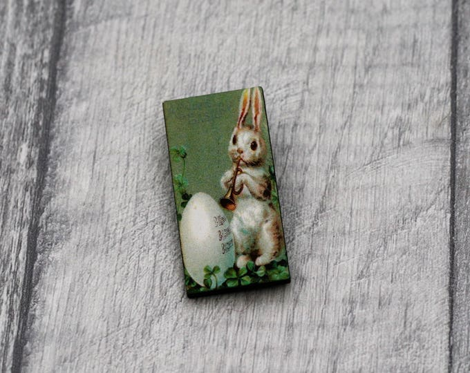 Easter Brooch, Rabbit Brooch, Wood Jewelry, Animal Brooch, Spring Jewelry