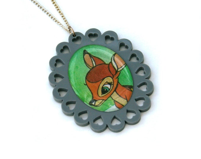 Bambi Necklace, Bambi Illustration Necklace OOAK, Woodland, Animal Necklace, SALE