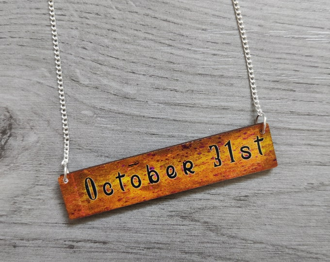 Halloween October 31st Necklace, Wood Jewelry