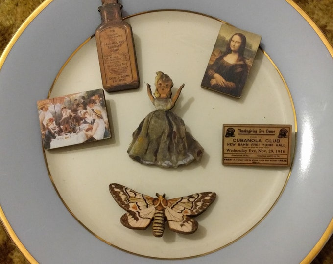 6 x Wooden Brooches - Butterfly, Moth, Mona Lisa