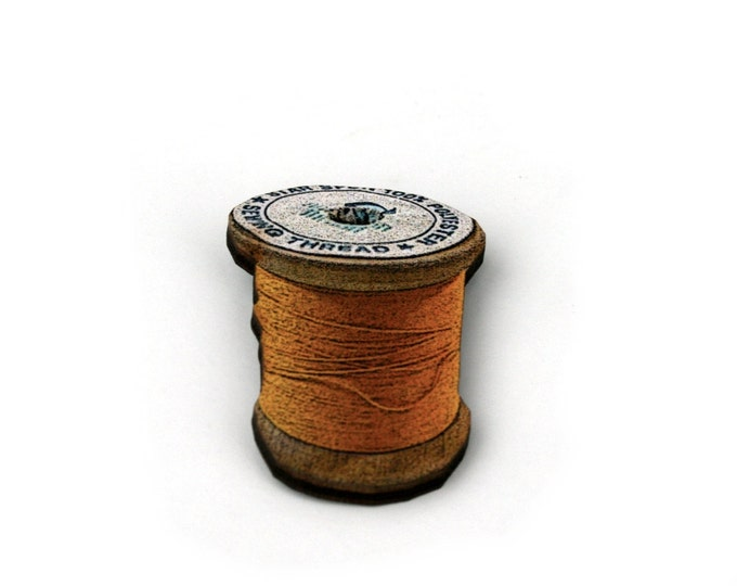 Yellow Cotton Spool Brooch, Wooden Thread Spool Illustration, Wood Jewelry, Bobbin Brooch