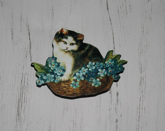 Cat Brooch, Wooden Kitten Brooch, Cat Illustration, Animal Brooch, Wood Jewelry