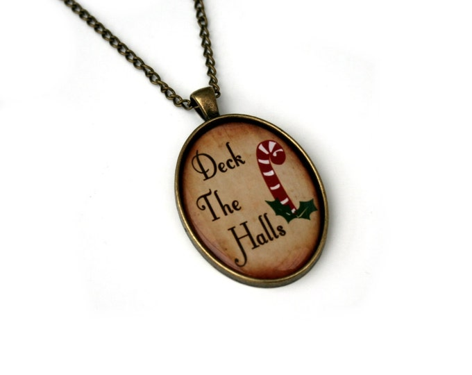 Deck The Halls Necklace, Christmas Song Cameo Necklace, Xmas Illustration, Stocking Stuffer