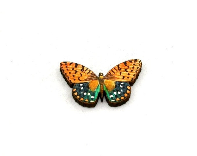 Orange Butterfly Brooch, Wood Accessory, Butterfly Badge, Illustration Jewelry, Animal Brooch, Woodland, Wood Jewelry