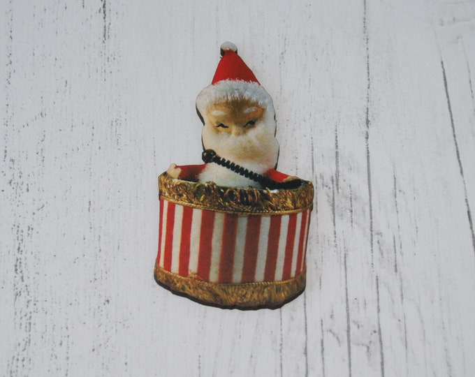 Father Christmas Brooch, Santa Illustration, Wood Jewelry, Christmas Brooch, Wood Jewelry