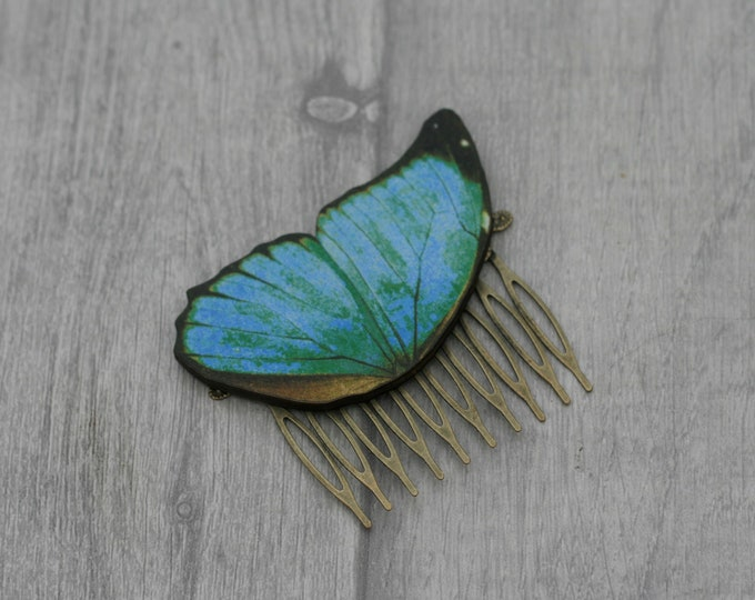 Blue Butterfly Hair Slide, Blue Hair Comb, Girls Hair Accessory