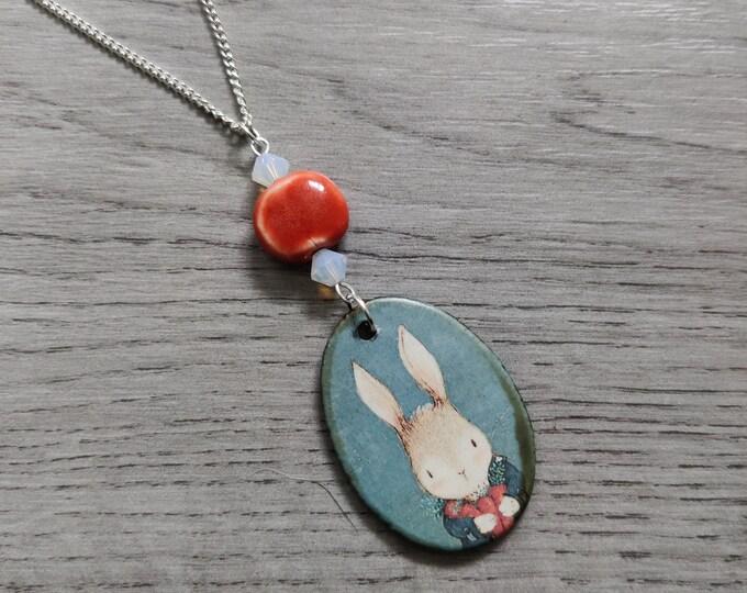 Large Rabbit Statement Necklace, Bunny Rabbit Pendant, Woodland, Animal Necklace