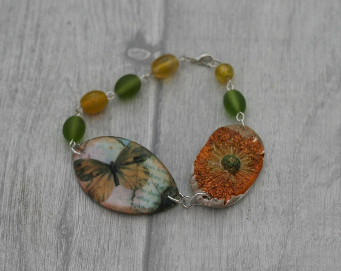 Green and Yellow Butterfly Bracelet, Butterfly Bracelet, Butterfly Bar Bracelet