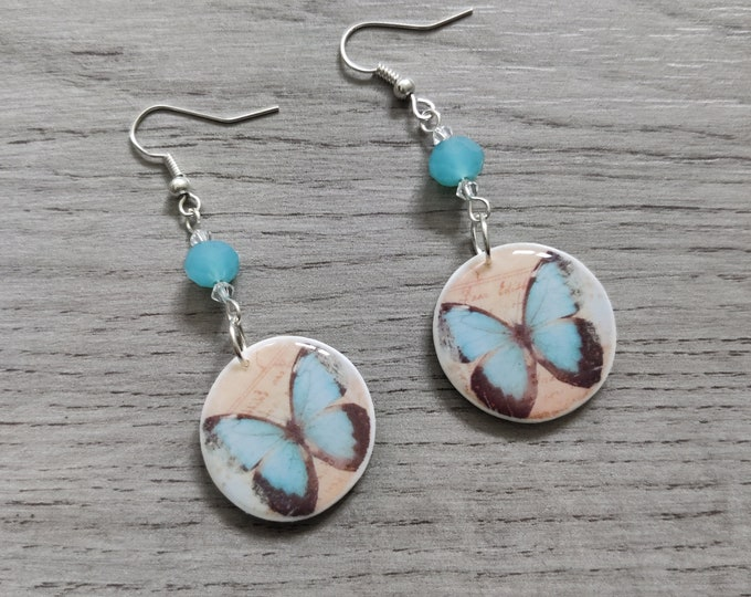 Blue Butterfly Statement Earrings, Insect Jewelry