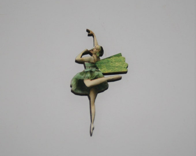 Green Fairy Brooch, Faerie Illustration Brooch, Pixie Jewelry, Wood Brooch, Wood Jewelry