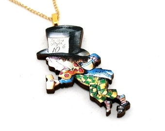 Mad Hatter Necklace, Alice In Wonderland Necklace, Tenniel Illustration, Alice Jewelry, Wood Jewelry